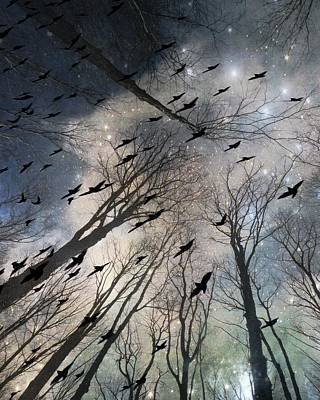 The Grandiose Flight Of The Wayward Ravens Art Print by Gothicrow Images