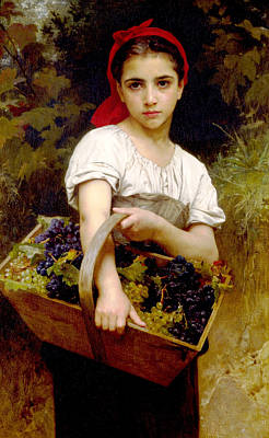 Digital Art - The Grape Picker by William Bouguereau