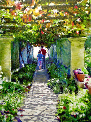 Impressionistic Vineyard Painting - The Grape Trellis by Michael Durst