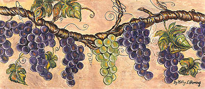 Concord Grapes Painting - The Grape Vine by Kathy-Lou