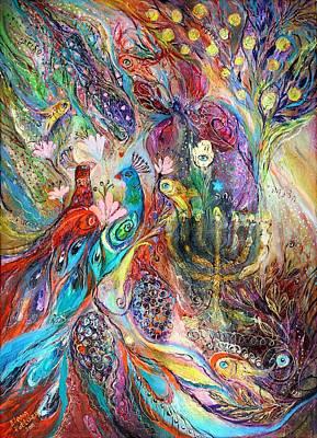 Swarovski Painting - The Grapes And Menorah by Elena Kotliarker