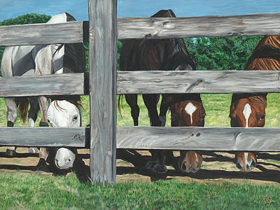 Horse Fence Painting - The Grass Is Always Greener... by Patty Vicknair