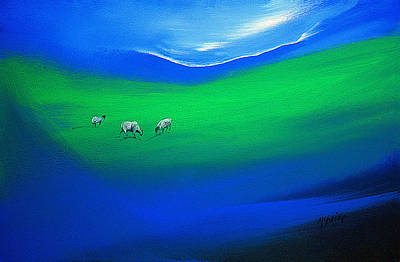 Blue Painting - The Grass Is Greener by Neil McBride