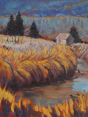 Wall Art - Painting - The Grassy Bank by Gina Grundemann