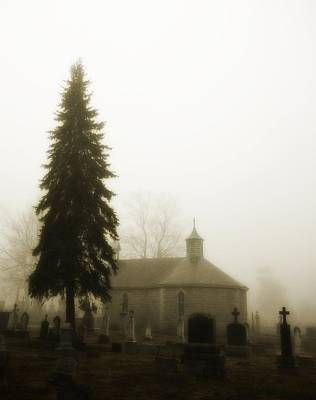 The Graveyard In The Fog  Art Print by Gothicrow Images