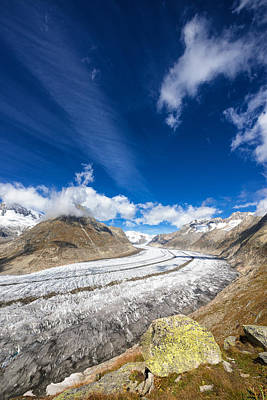 Switzerland Photograph - The Great Aletsch Glacier And Deep Blue Sky by Matthias Hauser