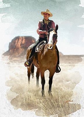 John Wayne Mixed Media - The Great American Cowboy by John Guthrie