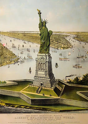 Statue Of Liberty Drawing - The Great Bartholdi Statue by Mountain Dreams
