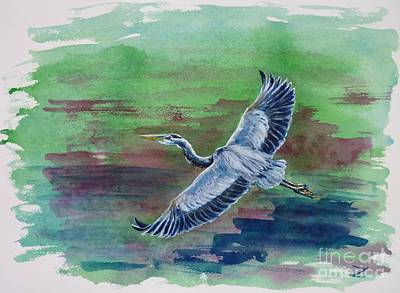 The Great Blue Heron Original by Zaira Dzhaubaeva