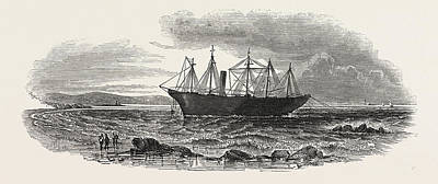 Lighthouse Drawing - The Great Britain Steamship At Midwater by English School