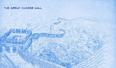 Plan Mixed Media - The Great Chinese Wall - Blueprint Drawing by MotionAge Designs