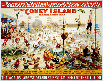The Great Coney Island Water Carnival Print by Georgia Fowler