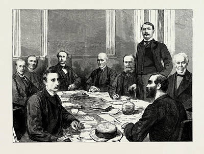 Manning Drawing - The Great Dock Strikes, Concilitation Conference by Litz Collection