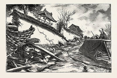 Fall Scenes Drawing - The Great Earthquake In Japan, Views At The Scenes by Japanese School
