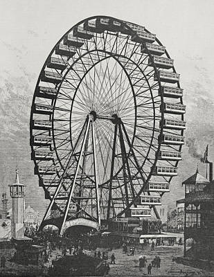 Wheels Drawing - The Great Ferris Wheel In The World Columbian Exposition, 1st July 1893 by American School