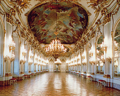 Ballroom Photograph - The Great Gallery Showing The Rococo Decorative Scheme Of Gilded Ornamental Framework And White by .