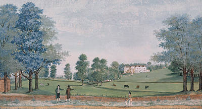 English Gouache Painting - The Great House And Park At Chawton by Adam Callander