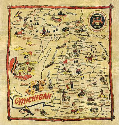 Antique Map Painting - The Great Lakes State by Michelle Calkins
