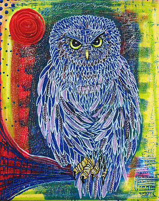Feather Painting - The Great Owl by Laura Barbosa