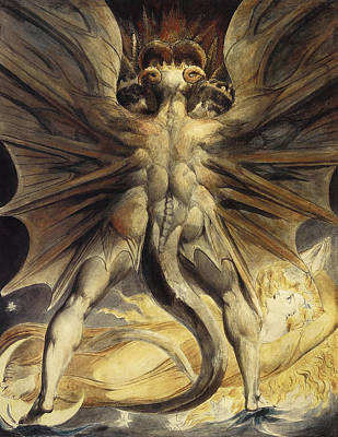 Horrific Painting - The Great Red Dragon And The Woman Clothed In Sun by William Blake