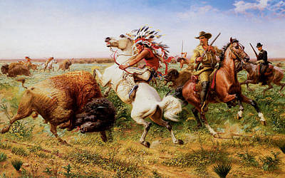 The Great Royal Buffalo Hunt Art Print by Louis Maurer