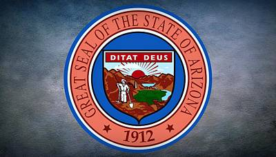 Shovel Digital Art - The Great Seal Of The State Of Arizona by Movie Poster Prints