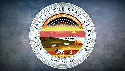 Bison Digital Art - The Great Seal Of The State Of Kansas  by Movie Poster Prints
