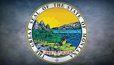 Missouri River Digital Art - The Great Seal Of The State Of Montana by Movie Poster Prints