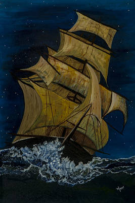 Sailing At Night Painting - The Great Ship by BJ Hilton Hitchcock