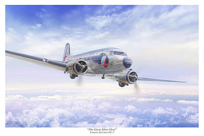 Dc-3 Painting - The Great Silver Fleet by Mark Karvon
