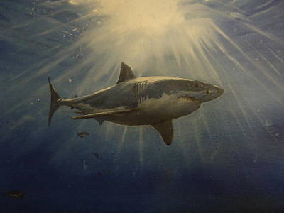 Great White Shark Painting - The Great White King Of The Seas by Alexandros Tsourakis