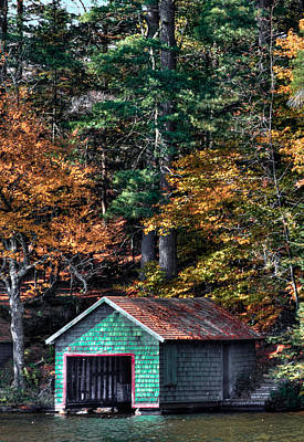 Boathouse Photograph - The Green Boathouse On Fourth Lake by David Patterson