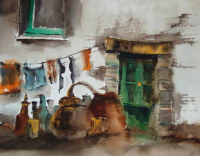 Clothes Line Painting - The Green Door by Val Byrne