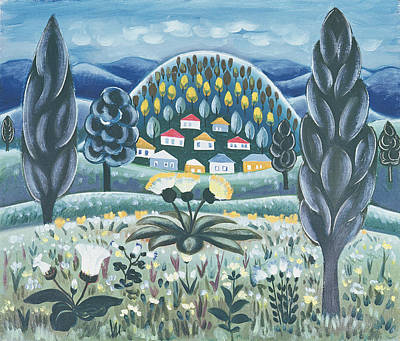 Folk Art Photograph - The Green Dreams, 1967 Oil On Canvas by Radi Nedelchev