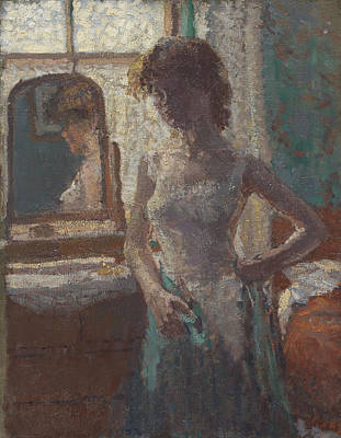 Mirror Painting - The Green Dress, 1908-09 by Spencer Frederick Gore