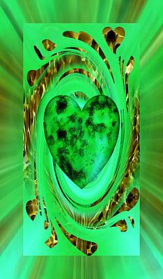 Digital Art - The Green Heart by rd Erickson