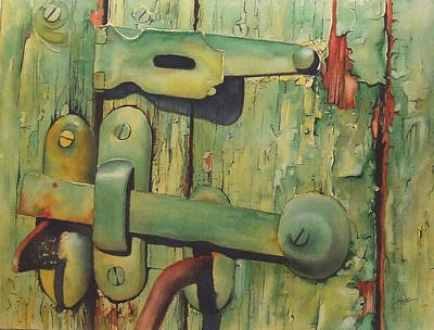 Old Latch Painting - The Green Latch by Greg and Linda Halom