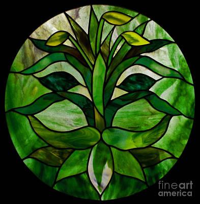 Youghiogheney Glass Glass Art - The Green Man by David Kennedy