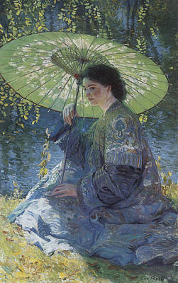 The Green Parasol Art Print by Guy Rose