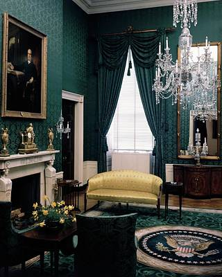 Room Photograph - The Green Room In The White House by Haanel Cassidy