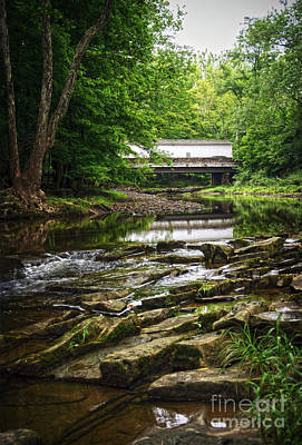 Print featuring the photograph The Green Sergeants Covered Bridge II by Debra Fedchin