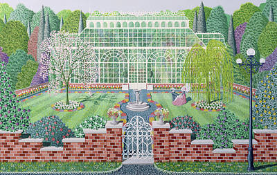 Lamppost Painting - The Greenhouse In The Park by Peter Szumowski