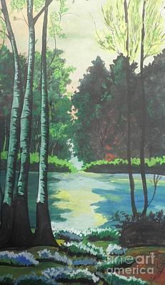 The Greenish Nature World Art Print by Artist Nandika  Dutt