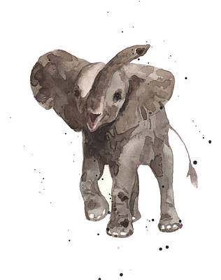 Nursery Decor Painting - The Greeter Elephant by Alison Fennell
