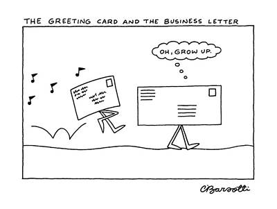 Business Cards Drawing - The Greeting Card And The Business Letter by Charles Barsotti