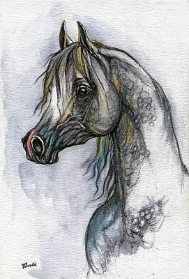 The Grey Arabian Horse 10 Art Print by Angel  Tarantella