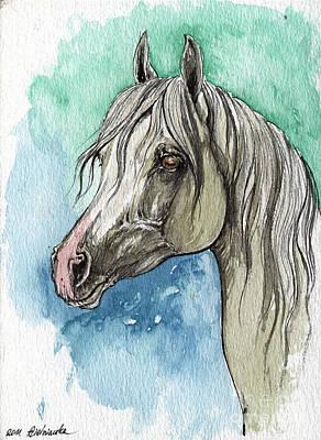Horse Drawing Painting - The Grey Arabian Horse 16 by Angel  Tarantella