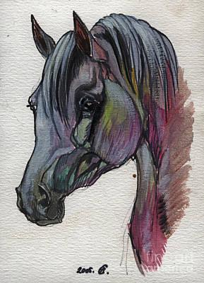 The Grey Horse Drawing 1 Art Print by Angel  Tarantella
