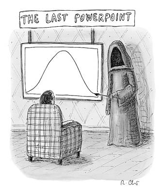 Reaper Drawing - The Grim Reaper Points To A Screen As A Man by Roz Chast
