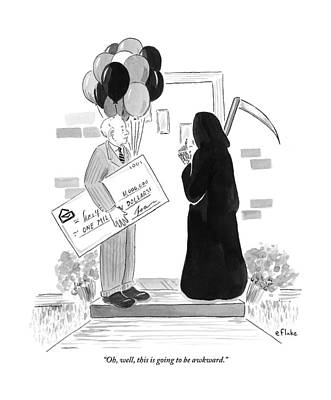 Drawing - The Grim Reaper Rings A Doorbell At The Same Time by Emily Flake
